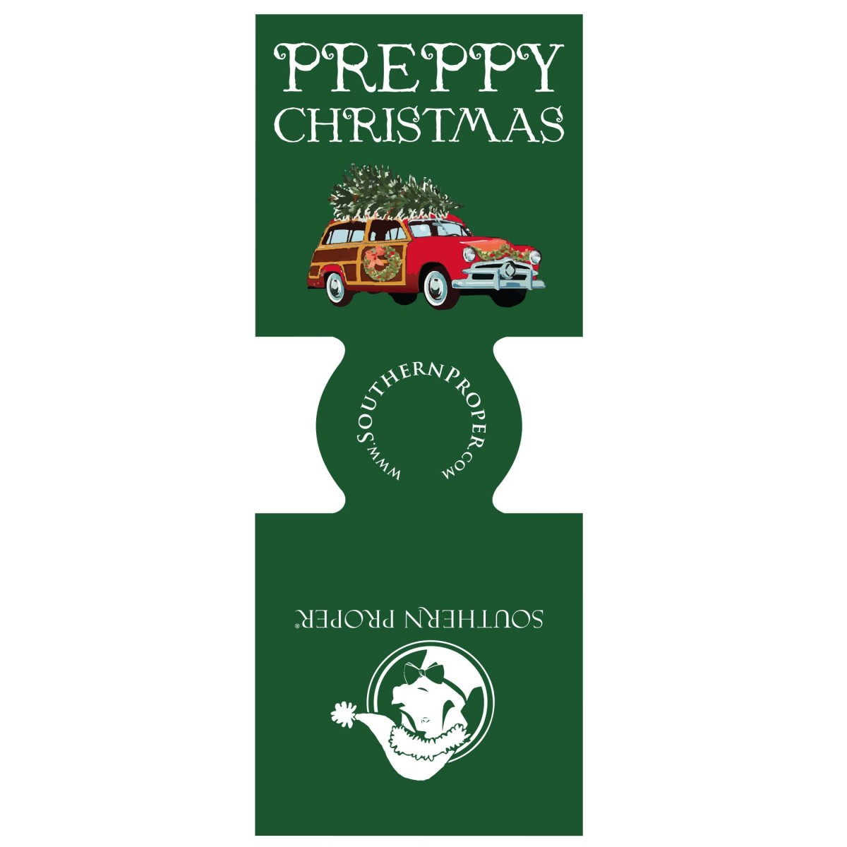 Preppy Christmas Coozie- Green